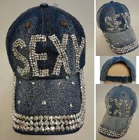 Denim Strapback Hat with Bling Bling [SEXY]